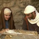 Maia, Josef und Jesus in der Krippe